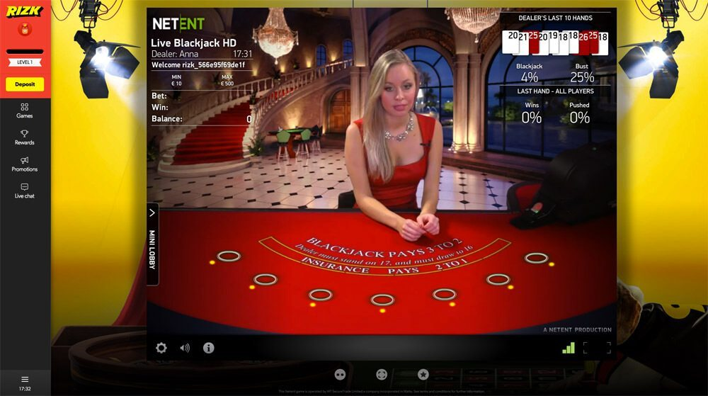Live Casino Online - Live Dealer Casino Games - Rizk.com