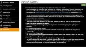 Wildslots FAQ screenshot