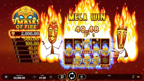 9 masks of fire mega win screenshot